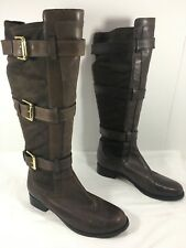 Cole Haan Avalon Knee High Boots 3 strap Belted Harnes Riding Boots Brown Sz 7 B