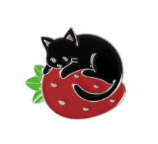 Cat Brooch Pin Badge Enamel Gift Cat Lover Black Red Strawberry Silver Jewellery