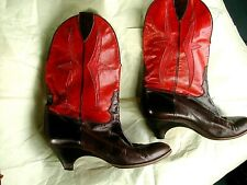Boots Ottorino Bossi  Italian Brown & Red Leather Western Shoes Boots Size 39