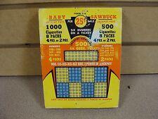 Vintage Punch Board Baby Sawbuck .25 Per Hole Gambling Device #3500 Box#Pb-13 Kh