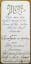 Menu: 1931 French Handwritten - Pomme de Terre Nature, Creme aux Pois