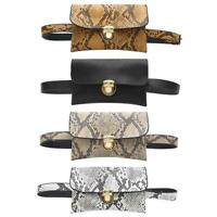 Women Waist Fanny Belt Packs PU Leather Snake Print Crossbody Chest Bags #3YE