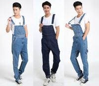 Mens Cotton Denim Overalls Pants Bib Suspenders Strap Jeans Jumpsuits Rompers
