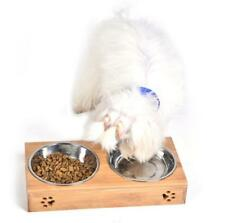 new Double Bowls Steel Raised Stand For Cat Pet Dog Stainless Feeder Food Bowl