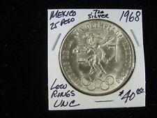 MEXICO 25 PESO 1968 OLIMPIADA SCARCE LOW RING UNCIRCULATED.720 FINE SILVER