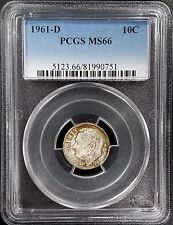 1961 D Roosevelt Silver Dime certified MS 66 by PCGS! Colorful toning!