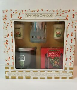 Yankee Candle Christmas Holiday Sampler Gift Box Set of 4 Items 3 Scents