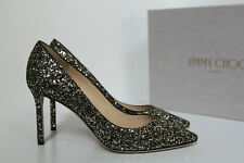 sz 10 / 40 Jimmy Choo Romy Gunmetal Star Coarse Glitter Pointed Toe Pump Shoes