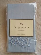 Pottery Barn Fiona Sham Standard Size Light Blue Embroidery Linen Cotton NWT