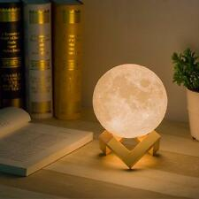 3D Moon Lamp USB LED TableLamp Touch Dimmable White Night Light Birthday Gift