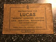 LUCAS MOTORCYCLE MAGLITA COMBINED LIGHTING & IGNITION EQUIPMENT BOOKLET MANUAL