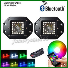 """2x 5"""" 4D Flush Mount LED Work Light Pods with RGB Halo Ring + Wiring Bluetooth"""
