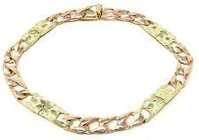 "10k Two Tone Gold Cuban Nugget Bracelet Link 7"" 7mm 10.5 grams"