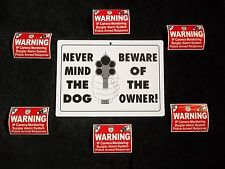 BEWARE OF DOG NO TRESPASSING GUN PRIVATE PROPERTY SIGN+6 CAMERA WARNING STICKERS