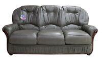 Debora 3 Seater Italian Dark Grey Leather Sofa Settee Couch Contemporary