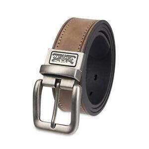 Levi's Men's 38MM Wide Cut-Edge Reversible Leather Belt Tan Black