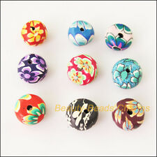 15Pcs Mixed Polymer Fimo Clay Round Flower Flat Spacer Beads Charms 12mm