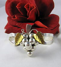 Sterling Silver & Brass Mexico Taxco Grapes  Cuff  Bracelet FERAL  CAT RESCUE