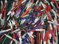 New Bulk Lot of 1,000 Pcs Plastic Imprinted Retractable Pens + Free Shipping