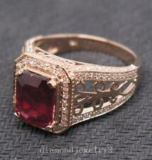 Solid 14K Rose Gold Genuine Natural Blood Ruby Engagement Diamond Ring