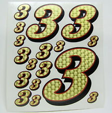 Racing Numbers Number 3 Decal Sticker Pack Gold Red Black 1/8 1/10 RC models S05