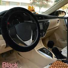Winter Warm Furry Handbrake Cover Gear Shift Cover Steering Wheel Cover(Black)