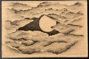 Stampscapes Cloud With Moon Rubber Stamp