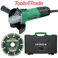 "Hitachi G12ST 115mm / 4.5"" Angle Grinder + Diamond Blade & Case G12STCD 110V"