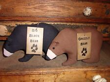 Primitive Black & Grizzly Bears Folk Art Bowl Filler Ornies Rustic Country