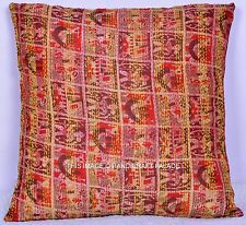 Silk Cushion Cover Ethnic Kantha Work Abstract Design Throw Decorative Pillow