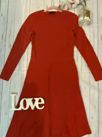 Jaeger Size M 12 14 red 100% wool long sleeve fitted a line smart career dress