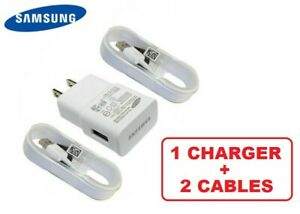 OEM Genuine Original Samsung 2A 5V Charger Adapter with 2 Micro USB 5Ft Cables