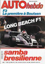 AUTO HEBDO 209 . 3 avril 1980 . Long Beach F1 samba brésilienne .