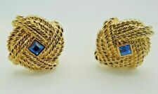 Signed Swarovski Earrings Blue Crystal Gold Plated Clip On