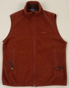 patagonia synchilla spellout logo full zip rust brown fleece vest sz medium