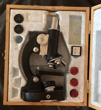 Vintage Tasco Deluxe High Quality Microscope Kit With Wooden Case 15x And 8x Len