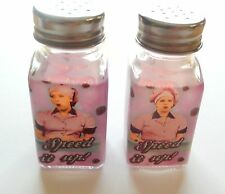 "I Love Lucy Salt & Pepper Shaker Chocolate Factory-Glass- ""Speed It UP"""
