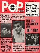 Pop Weekly Magazine 8 May 1965   The Kinks  The Rolling Stones  Billy Fury  Lulu