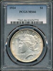 1924 Peace Dollar PCGS MS 66 *Premium Gem Dollar w/Stone Cold Original Patina!*