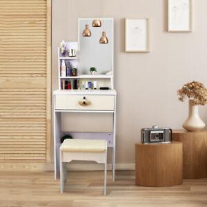 Small Dressing Table Large Mirror & 1 Drawer Stool Set Makeup Desk +10LED Bulbs