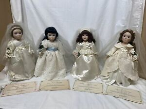 Danbury Mint Brides Of America, Porcelain Dolls Mary, Margaret, Dorothy, Abigail