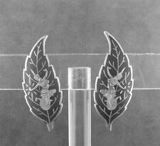 Vintage Sterling Niello Clip Earrings Goddess Makkala