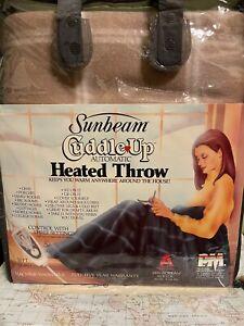 "Vintage 1987 Sunbeam Cuddle Up Heated Throw Blanket 50""x60"" Brown Made in USA"