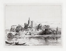 Original 1800s ERNEST GEORGE SIGNED Etching The City from the Rhone FRAMED COA