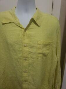 Tommy Bahama 100% Linen Long Sleeve Button Down Shirt Mens XL