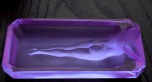 Art Deco Alexandrite Glass Bowl Nude Lady Jewelry Box 1930' H.Hoffmann