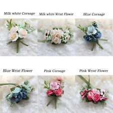 Bride's Wedding Flowers Wrist Corsage Groom/Man Boutonnieres Party Suit Decor US