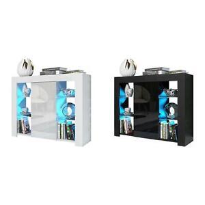 LED Sideboard Door Cabinet Glass Shelf High Gloss Unit White Black