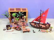(L297) playmobil Coffret pirates transportable ref 4432 + bateau ref 4444