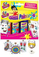 Glass Paints 4 Pack Washable Colour Painting Bottles Arts & Crafts Vases Window